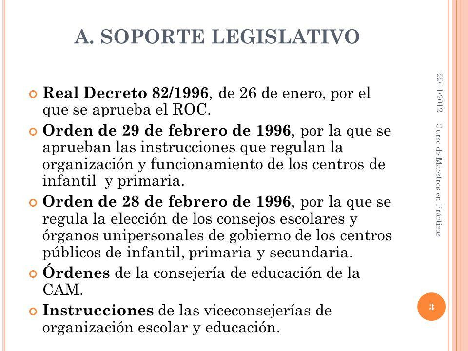 A. SOPORTE LEGISLATIVO Real Decreto 82/1996, de 26 de enero, por el que se aprueba el ROC. Orden de 29 de febrero de 1996, por la que se aprueban las