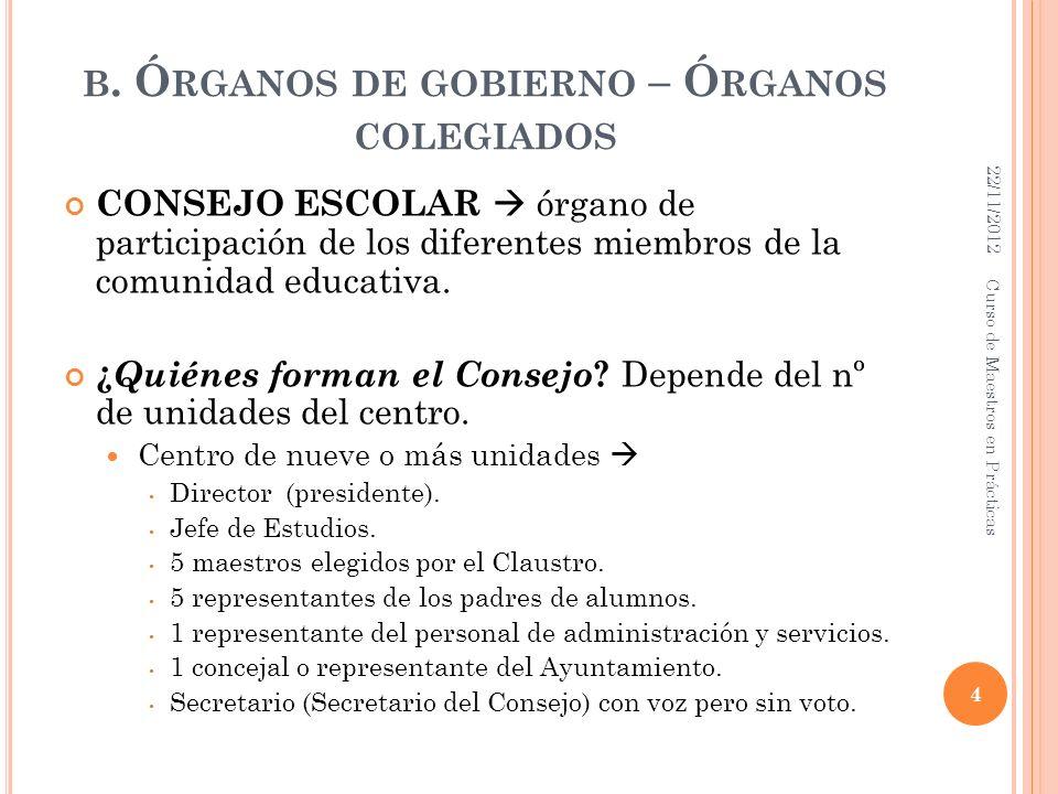 B. Ó RGANOS DE GOBIERNO – Ó RGANOS COLEGIADOS CONSEJO ESCOLAR órgano de participación de los diferentes miembros de la comunidad educativa. ¿ Quiénes