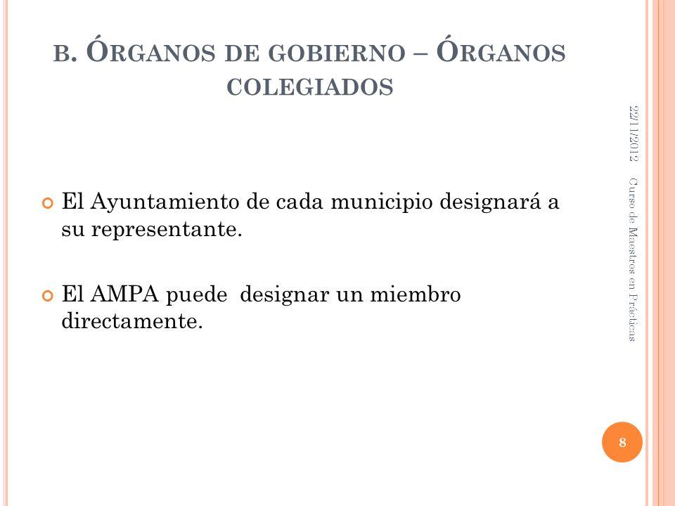 B. Ó RGANOS DE GOBIERNO – Ó RGANOS COLEGIADOS El Ayuntamiento de cada municipio designará a su representante. El AMPA puede designar un miembro direct