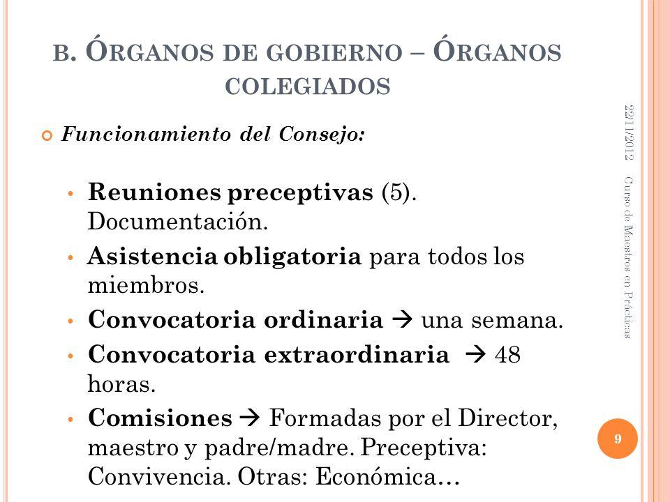 B. Ó RGANOS DE GOBIERNO – Ó RGANOS COLEGIADOS Funcionamiento del Consejo: Reuniones preceptivas (5). Documentación. Asistencia obligatoria para todos