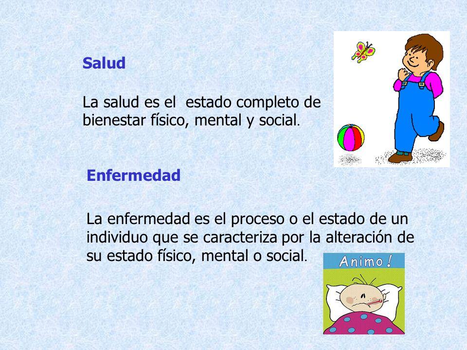 La salud es el estado completo de bienestar físico, mental y social. Salud Enfermedad La enfermedad es el proceso o el estado de un individuo que se c