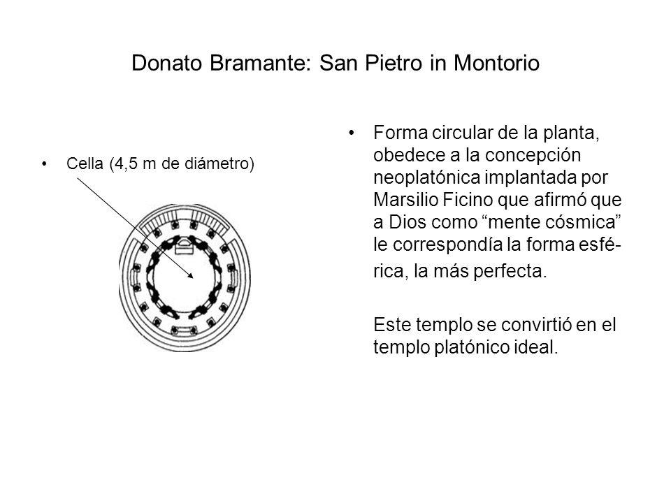 Donato Bramante: San Pietro in Montorio Cella (4,5 m de diámetro) Forma circular de la planta, obedece a la concepción neoplatónica implantada por Mar