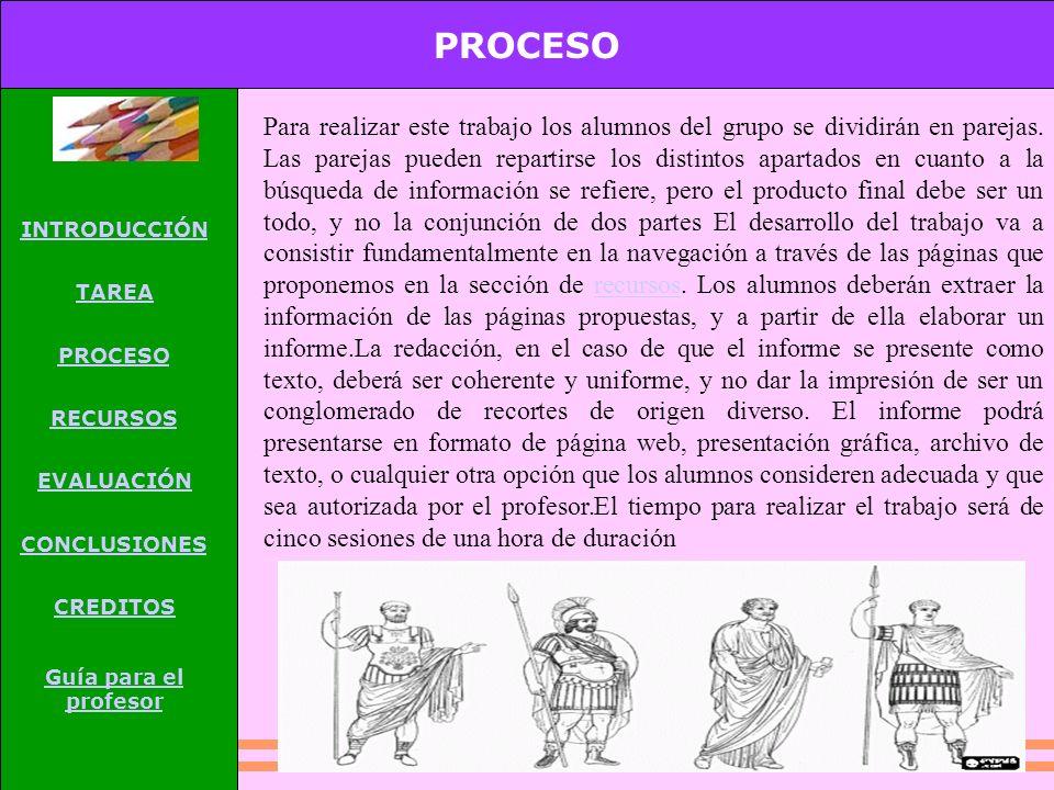 PROCESO INTRODUCCIÓN TAREA PROCESO RECURSOS EVALUACIÓN CONCLUSIONES CREDITOS Guía para el profesor Para realizar este trabajo los alumnos del grupo se