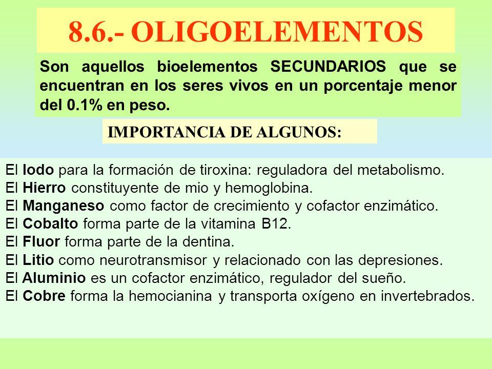 8.6.- OLIGOELEMENTOS Son aquellos bioelementos SECUNDARIOS que se encuentran en los seres vivos en un porcentaje menor del 0.1% en peso. IMPORTANCIA D
