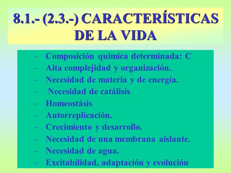 –Composición química determinada: C –Alta complejidad y organización. –Necesidad de materia y de energía. – Necesidad de catálisis –Homeostásis –Autor
