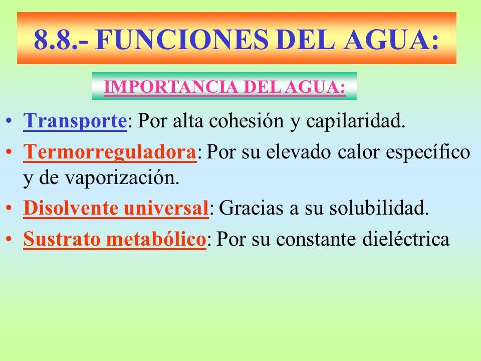8.8.- FUNCIONES DEL AGUA: Transporte: Por alta cohesión y capilaridad. Termorreguladora: Por su elevado calor específico y de vaporización. Disolvente