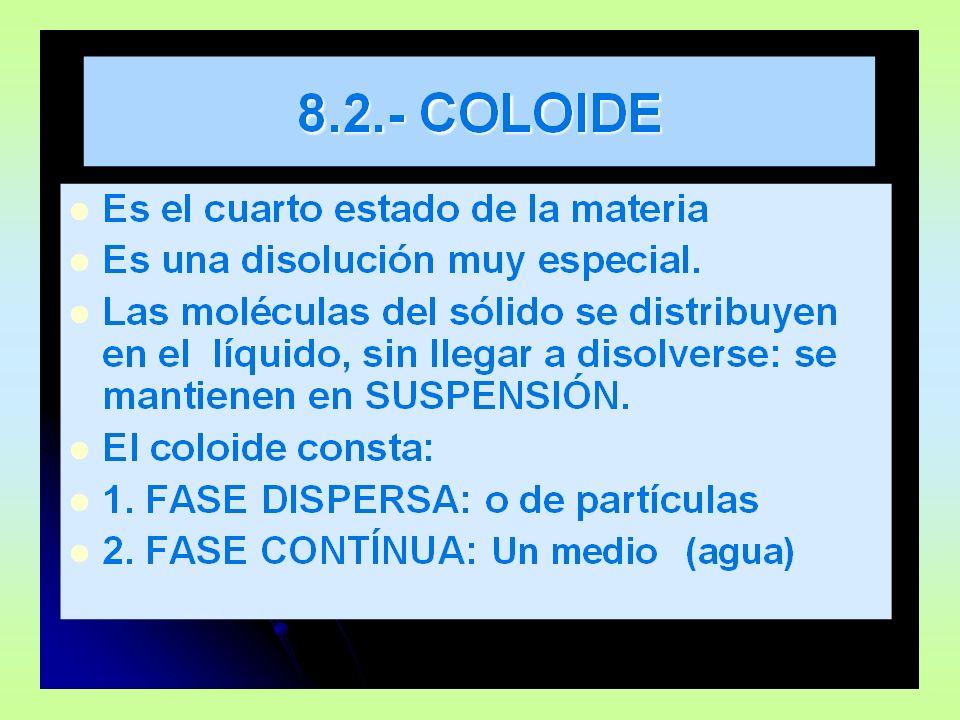 8.2.- ESTADOS COLOIDALES ESTADO SOL: PredominaESTADO GEL: Predomina la fase contínua.
