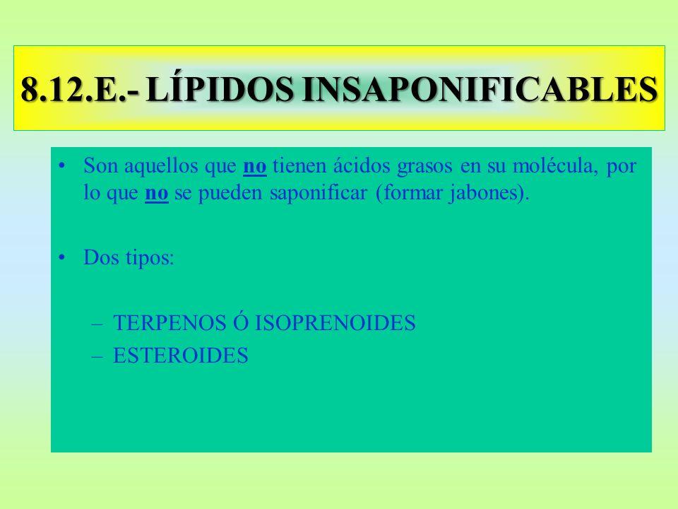 8.12.E.- LÍPIDOS INSAPONIFICABLES Son aquellos que no tienen ácidos grasos en su molécula, por lo que no se pueden saponificar (formar jabones). Dos t
