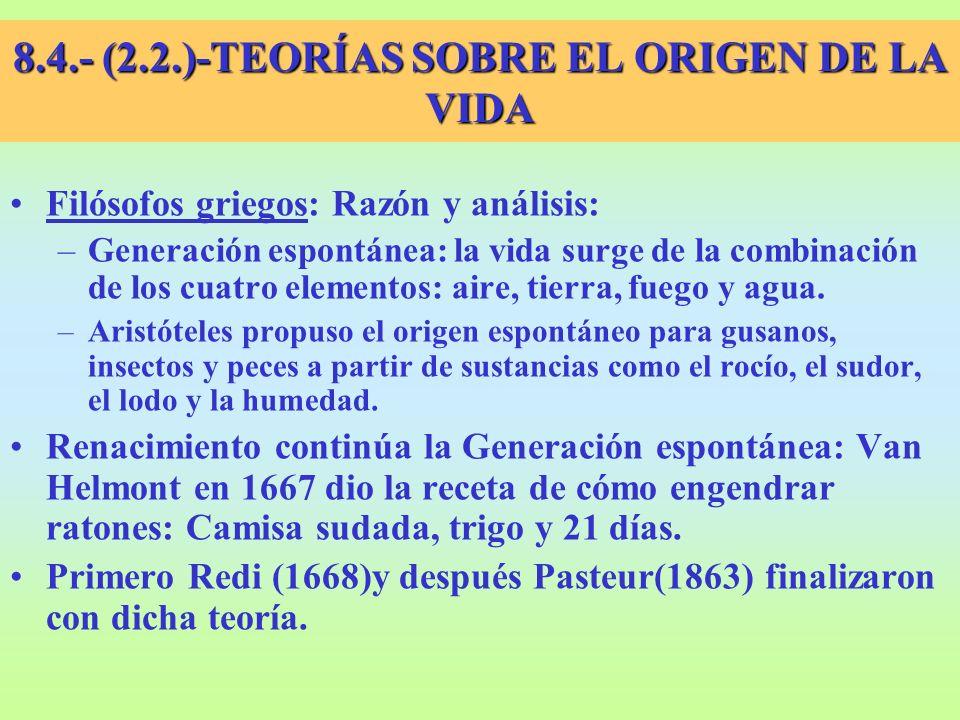 2.2.- HIPÓTESIS SOBRE EL ORIGEN DE LA VIDA Tarros abiertos Tarros cerrados Tarros con gasa
