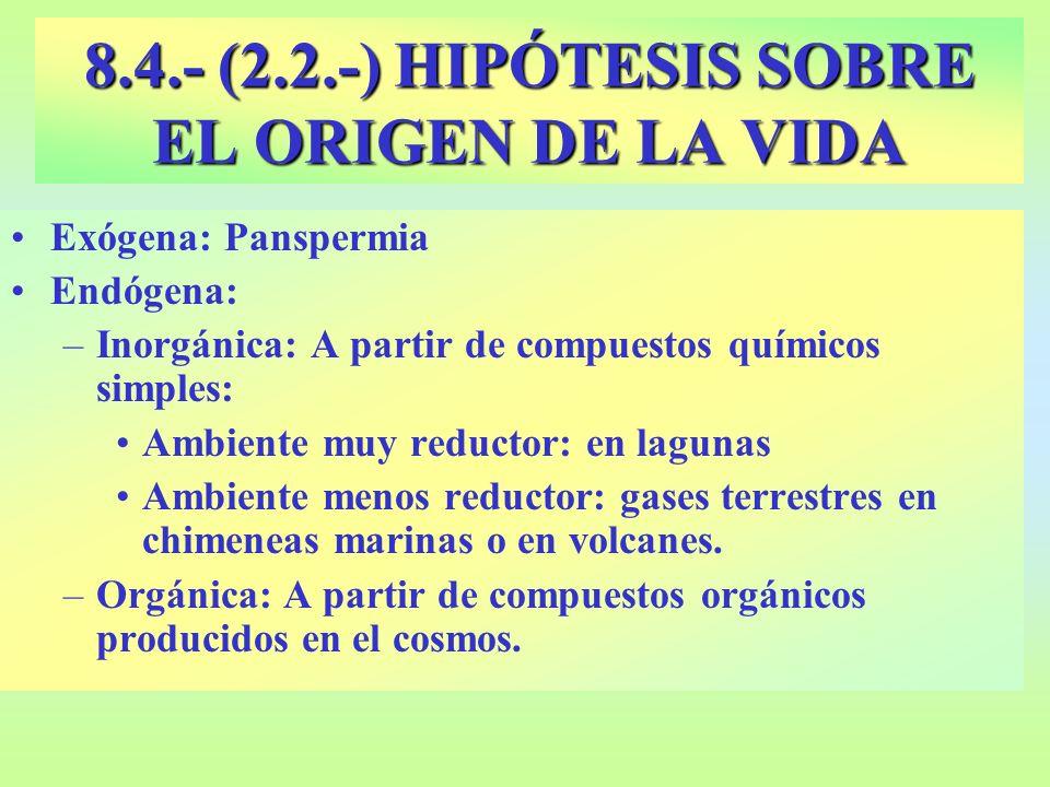 OPARIN (1924): Atmósfera primitiva: H 2, NH 3, CH 4, H 2 O v Reaccionan los gases entre sí por la energía procedente de rayos, descargas eléctricas, ultravioletas...