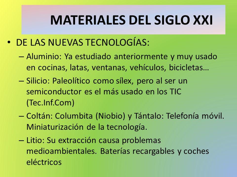 MATERIALES DEL SIGLO XXI DE LAS NUEVAS TECNOLOGÍAS: – Aluminio: Ya estudiado anteriormente y muy usado en cocinas, latas, ventanas, vehículos, bicicle