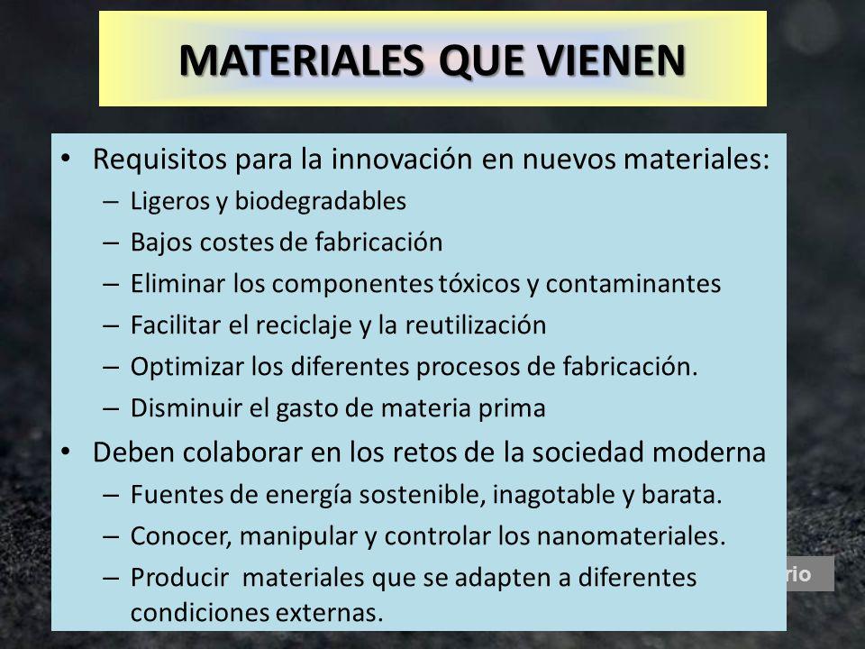 Mercurio Requisitos para la innovación en nuevos materiales: – Ligeros y biodegradables – Bajos costes de fabricación – Eliminar los componentes tóxic