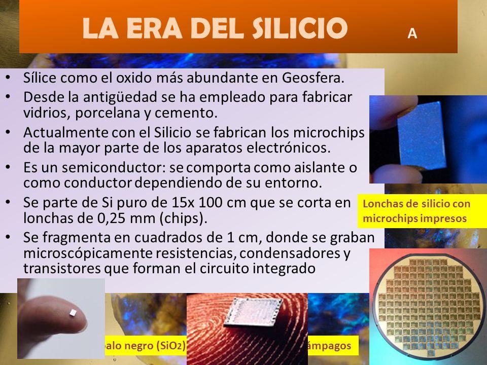 LA ERA DEL SILICIO A Sílice como el oxido más abundante en Geosfera. Desde la antigüedad se ha empleado para fabricar vidrios, porcelana y cemento. Ac