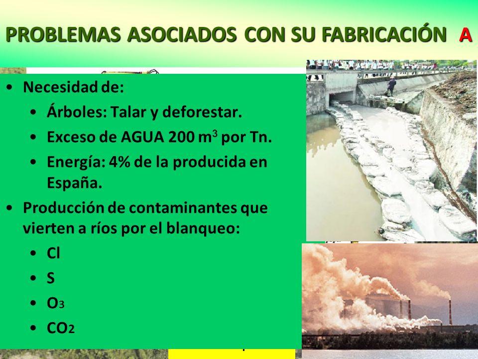 PROBLEMAS ASOCIADOS CON SU FABRICACIÓN A Tala de bosques Fabricación del papel Necesidad de: Árboles: Talar y deforestar. Exceso de AGUA 200 m 3 por T