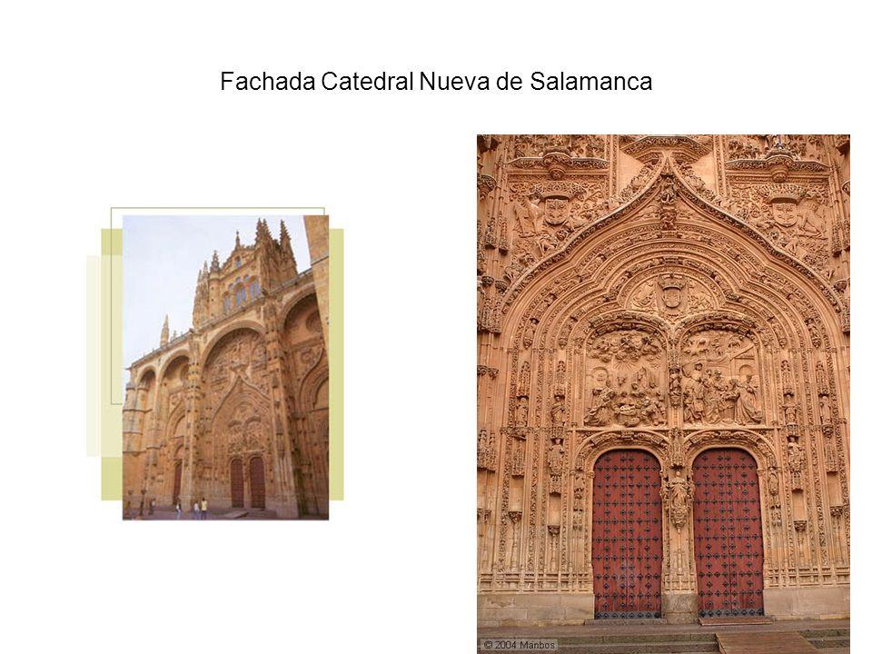 Catedral Nueva de Salamanca La fachada principal, tremendamente profusa en detalles entre los que destacan los relieves de las escenas principales del Nacimiento y la Epifanía.