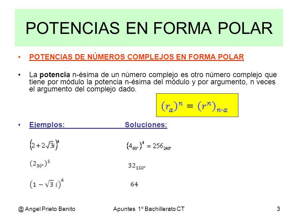 @ Angel Prieto BenitoApuntes 1º Bachillerato CT4 FÓRMULA DE MOIVRE Fórmula de Moivre Si expresamos la fórmula en forma trigonométrica: que para r = 1, resulta: EJEMPLO: Comprobar la fórmula de Moivre para n = 2.