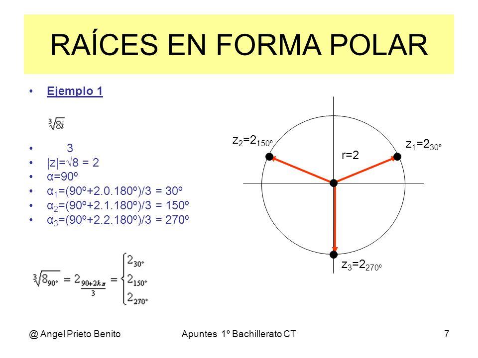 @ Angel Prieto BenitoApuntes 1º Bachillerato CT8 Ejemplo 2 3 6 |z|=(4+4) = 8 = 2 α=arctg 2/2 = 45º α 1 =(45º+2.0.180º)/3 = 15º α 2 =(45º+2.1.180º)/3 = 135º α 3 =(45º+2.2.180º)/3 = 255º RAÍCES EN FORMA POLAR r=2 z 1 = 2 15º z 2 = 2 135º z 3 = 2 255º