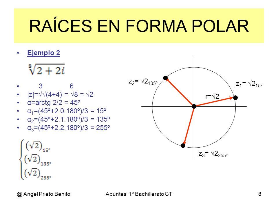 @ Angel Prieto BenitoApuntes 1º Bachillerato CT9 Ejemplo 3 4 -81i 4 |z|=81 = 3 α=270º α 1 =(270º+2.0.180º)/4 = 67,5º α 2 =(270º+2.1.180º)/4 = 157,5º α 3 =(270º+2.2.180º)/4 = 247,5º α 4 =(270º+2.3.180º)/4 = 337,5º z 1 = 3 67,5º z 2 = 3 157,5º z 3 = 3 247,5º z 4 = 3 337,5º RAÍCES EN FORMA POLAR r=2 z 1 = 3 67,5º z 2 = 3 157,5º z 3 = 3 247,5º z 4 = 3 337,5º