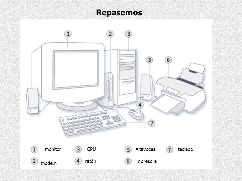 ratón modem CPUmonitorAltavoces impresora teclado Repasemos
