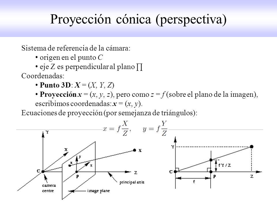Sistema de referencia de la cámara: origen en el punto C eje Z es perpendicular al plano Coordenadas: Punto 3D: X = (X, Y, Z) Proyección x = (x, y, z), pero como z = f (sobre el plano de la imagen), escribimos coordenadas: x = (x, y).