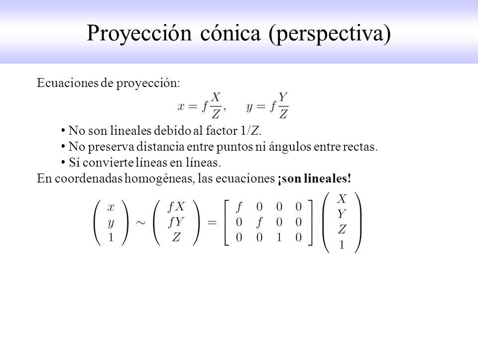 Ecuaciones de proyección: No son lineales debido al factor 1/Z.