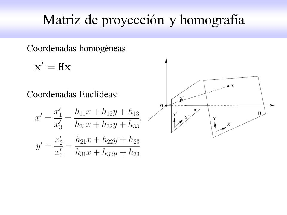 Coordenadas homogéneas Coordenadas Euclídeas: