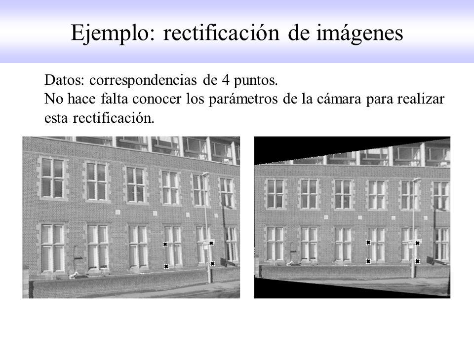 Ejemplo: rectificación de imágenes Datos: correspondencias de 4 puntos.