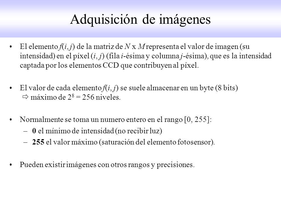 El elemento f(i, j) de la matriz de N x M representa el valor de imagen (su intensidad) en el píxel (i, j) (fila i-ésima y columna j-ésima), que es la intensidad captada por los elementos CCD que contribuyen al píxel.