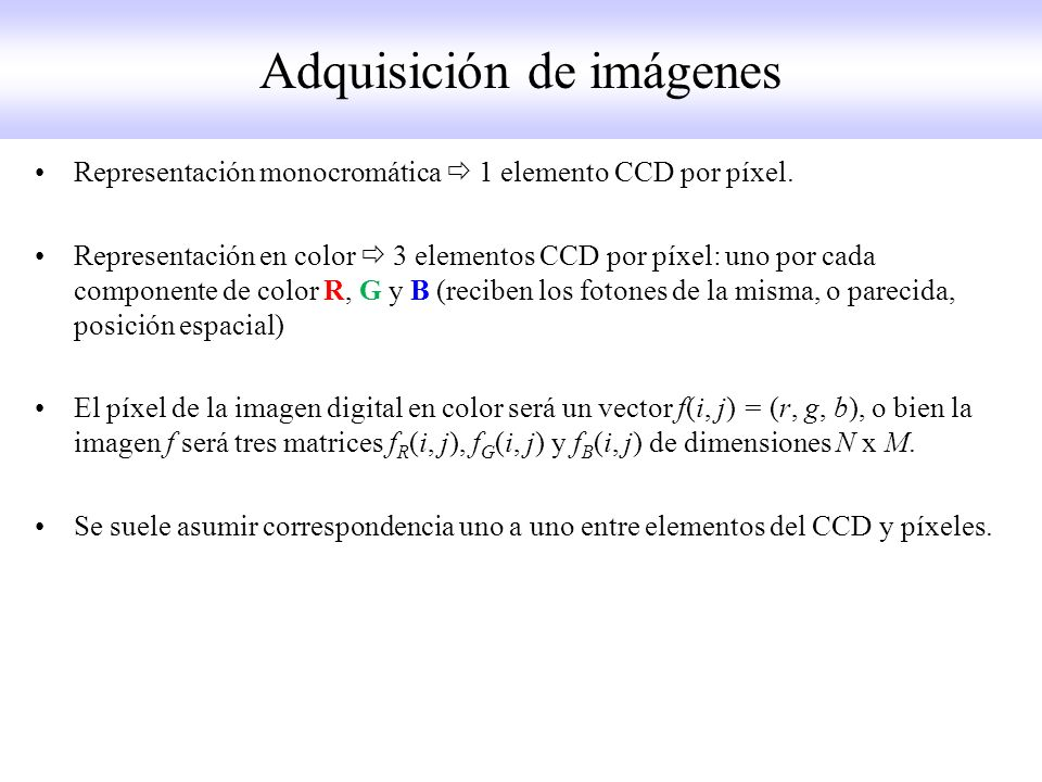 Representación monocromática 1 elemento CCD por píxel.