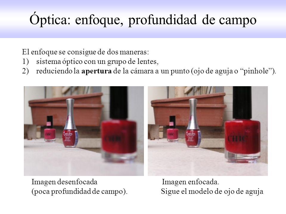 Óptica: enfoque, profundidad de campo El enfoque se consigue de dos maneras: 1)sistema óptico con un grupo de lentes, 2)reduciendo la apertura de la cámara a un punto (ojo de aguja o pinhole).