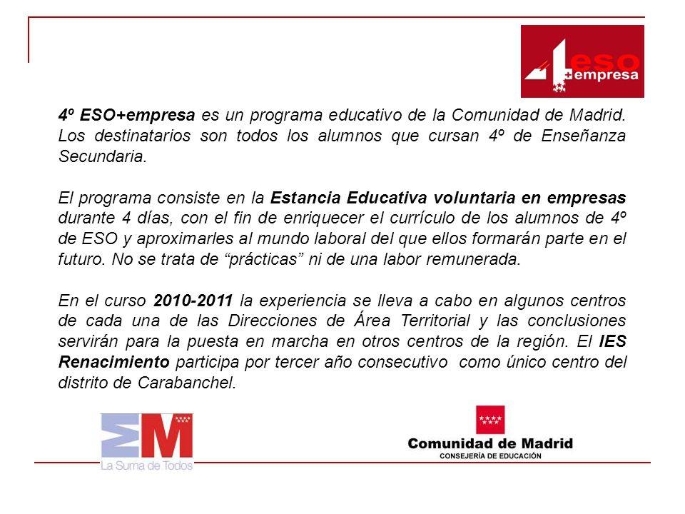 4º ESO+empresa es un programa educativo de la Comunidad de Madrid. Los destinatarios son todos los alumnos que cursan 4º de Enseñanza Secundaria. El p