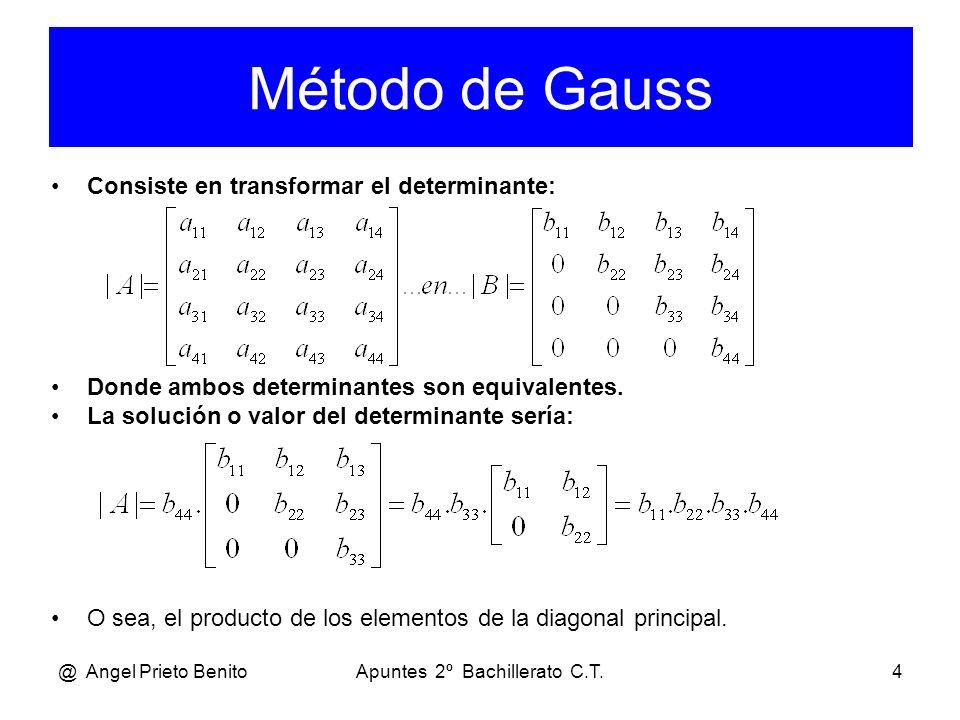 @ Angel Prieto BenitoApuntes 2º Bachillerato C.T.4 Consiste en transformar el determinante: Donde ambos determinantes son equivalentes. La solución o