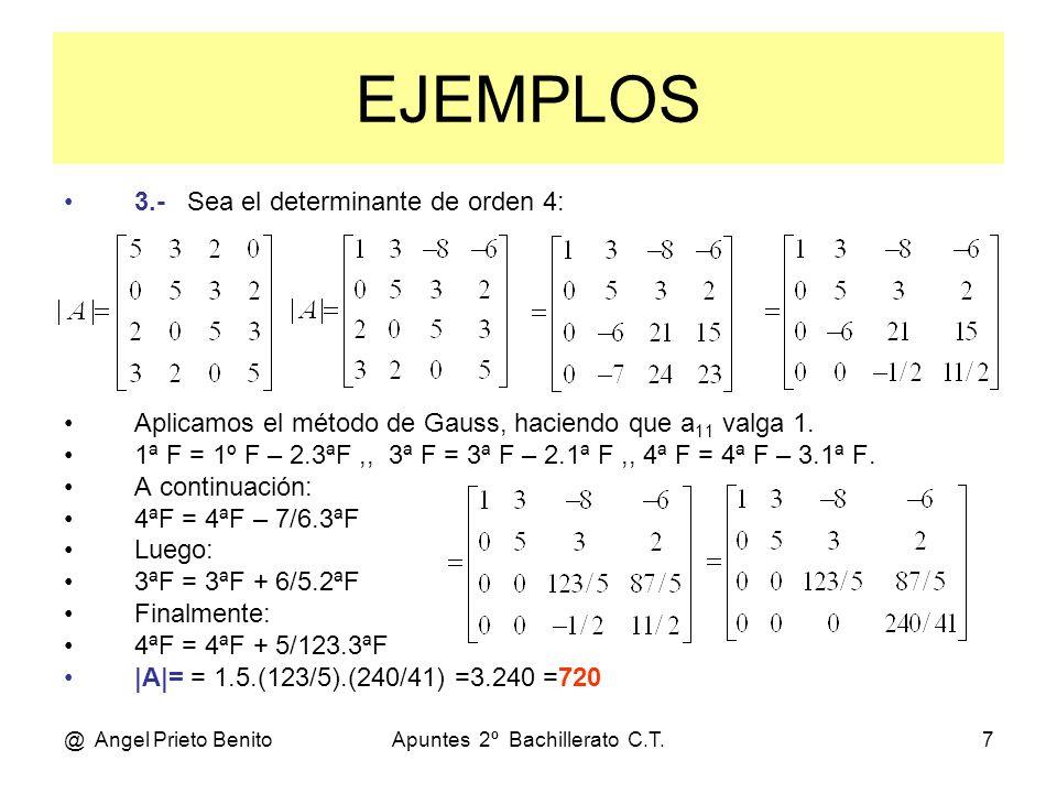 @ Angel Prieto BenitoApuntes 2º Bachillerato C.T.7 EJEMPLOS 3.- Sea el determinante de orden 4: Aplicamos el método de Gauss, haciendo que a 11 valga