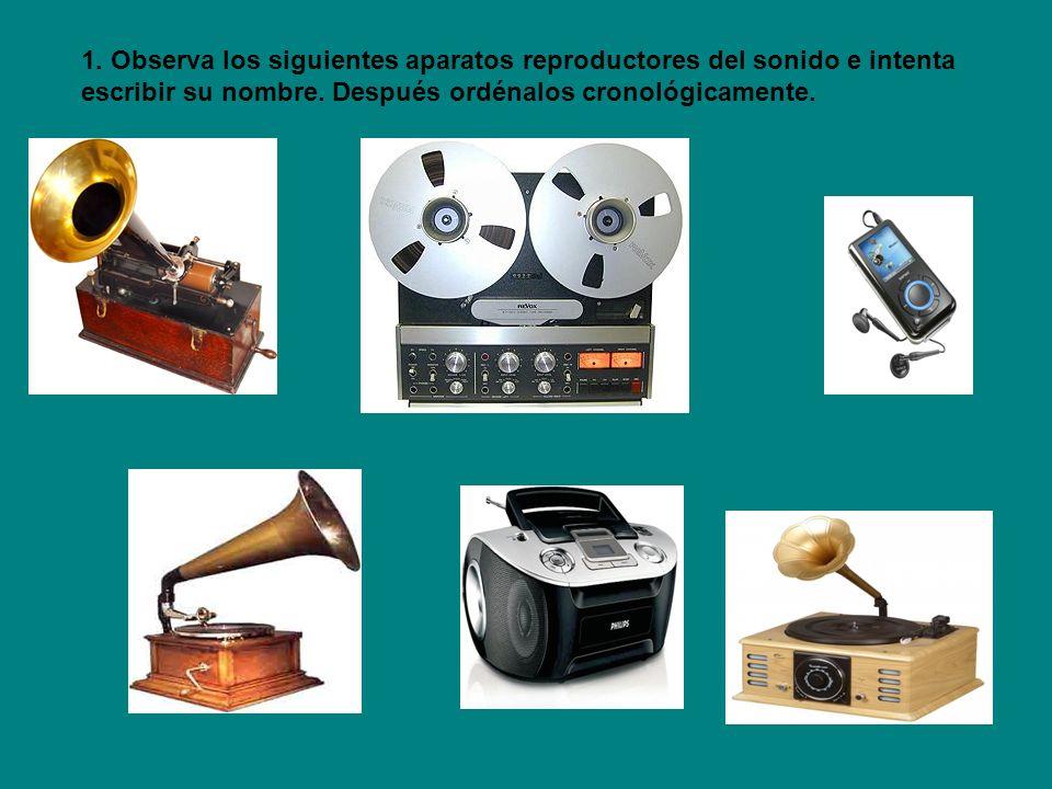 Gramófono, 1900 Fonógrafo, 1878 Reproductor de CD, 1980 Magnetófono o reproductor de cinta casette, 1940 Reproductor de mp3/ Ipod, 1990/2000 Tocadiscos, 1925 2.