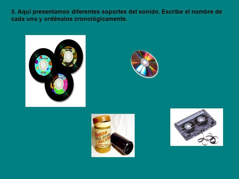 Disco de vinilo, 1940 CD (Disco compacto), 1980 Cinta casette, 1940 Cilindro de estaño, 1878 4.