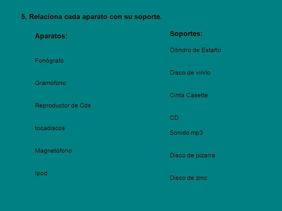 Aparatos: Fonógrafo Gramófono Reproductor de Cds tocadiscos Magnetófono Ipod Soportes: Cilindro de Estaño Disco de vinilo Cinta Casette CD Sonido mp3