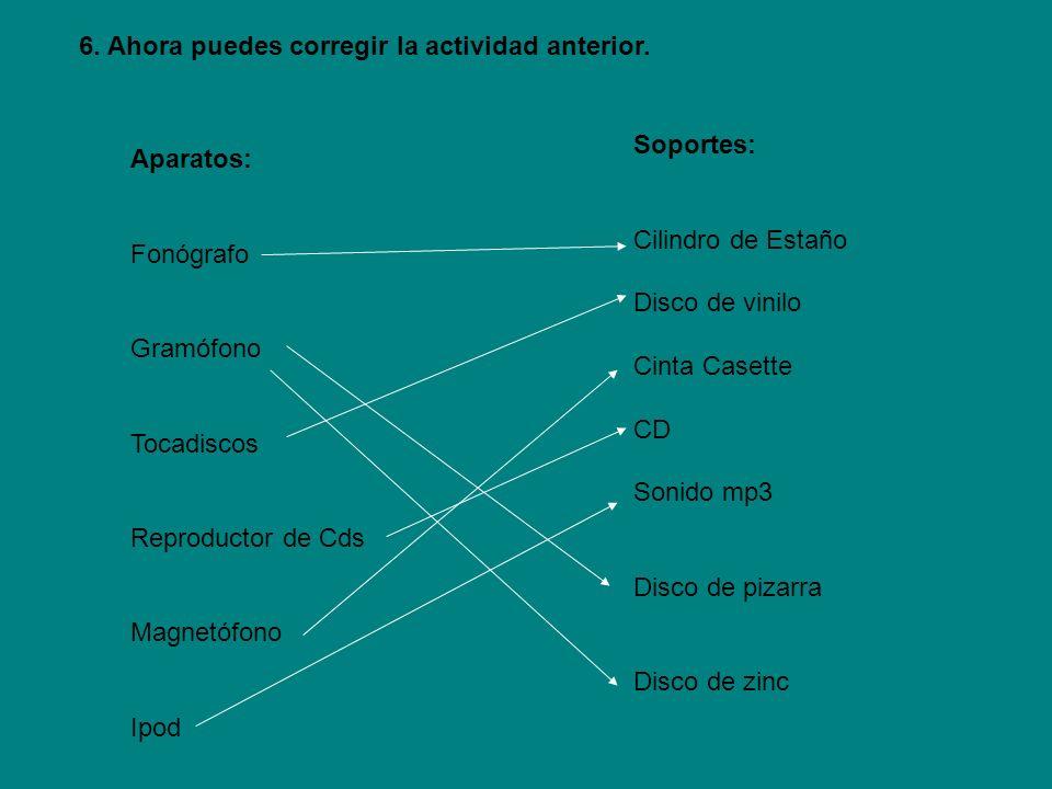 Aparatos: Fonógrafo Gramófono Tocadiscos Reproductor de Cds Magnetófono Ipod Soportes: Cilindro de Estaño Disco de vinilo Cinta Casette CD Sonido mp3