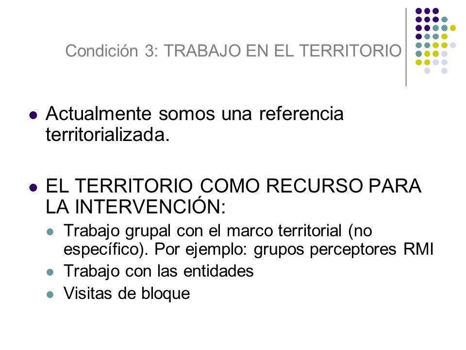 Actualmente somos una referencia territorializada. EL TERRITORIO COMO RECURSO PARA LA INTERVENCIÓN: Trabajo grupal con el marco territorial (no especí