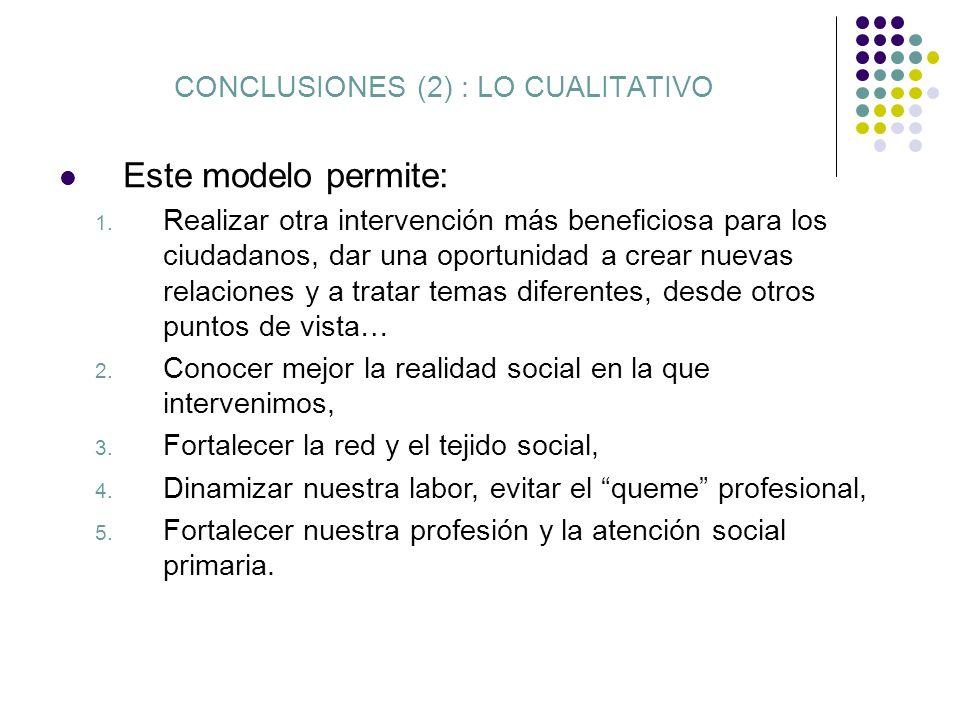 CONCLUSIONES (2) : LO CUALITATIVO Este modelo permite: 1. Realizar otra intervención más beneficiosa para los ciudadanos, dar una oportunidad a crear