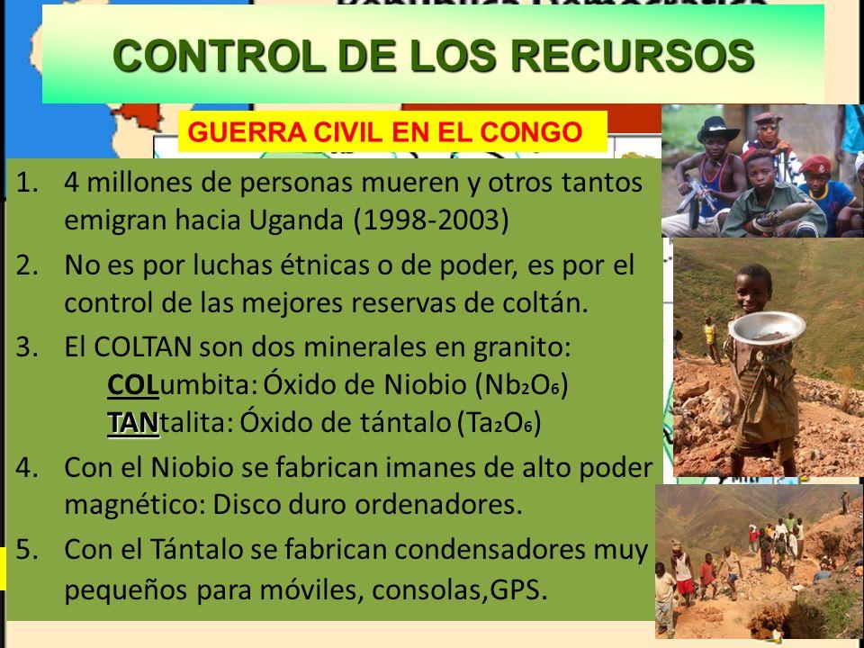 CONTROL DE LOS RECURSOS Explotación vergonzante en Congo. Australia principal productor 1.4 millones de personas mueren y otros tantos emigran hacia U