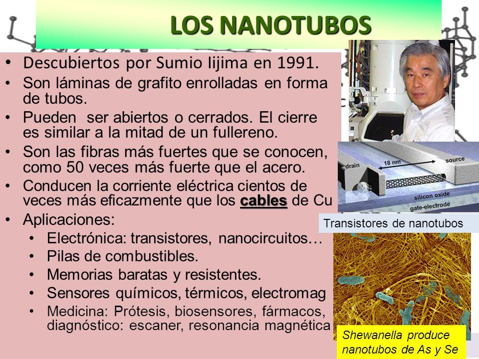 a: diamante, b: grafito, c: diamante hexagonal, d:fullereno C60, e: fulereno C540, f: fulereno C70, g: carbono amorfo, h: nanotubo LOS NANOTUBOS LOS N