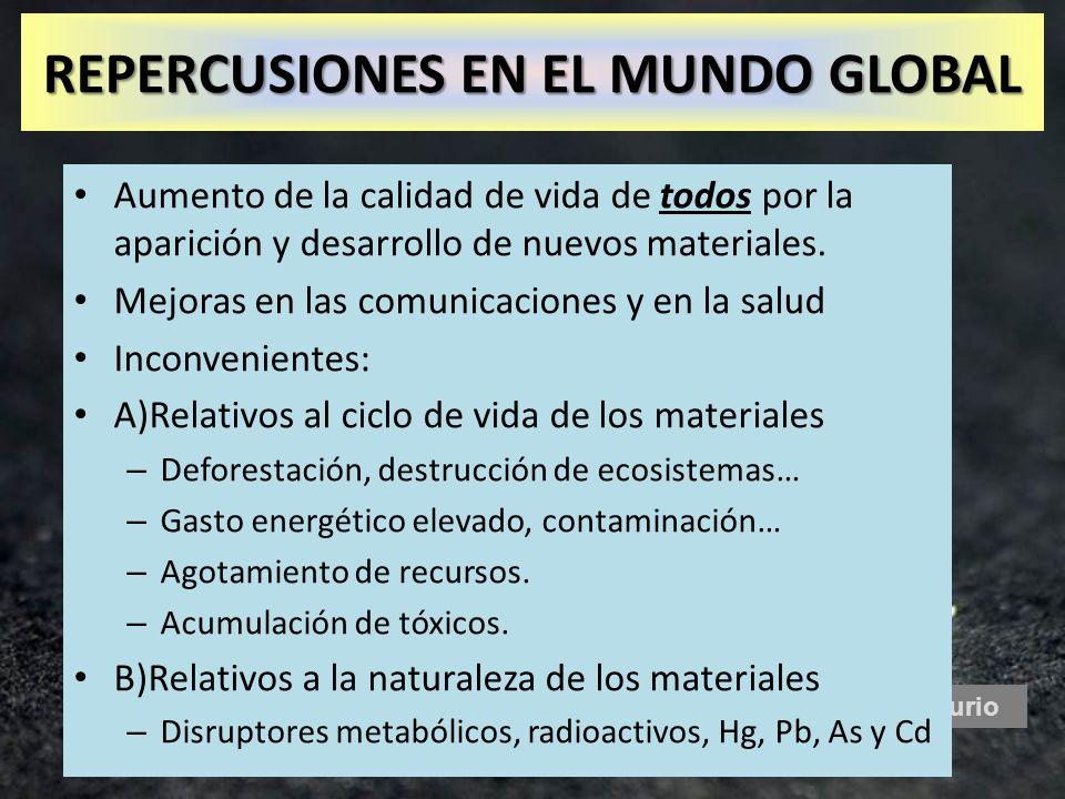 Mercurio Aumento de la calidad de vida de todos por la aparición y desarrollo de nuevos materiales. Mejoras en las comunicaciones y en la salud Inconv