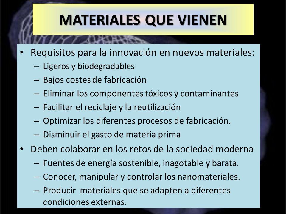 Nanotubos Requisitos para la innovación en nuevos materiales: – Ligeros y biodegradables – Bajos costes de fabricación – Eliminar los componentes tóxicos y contaminantes – Facilitar el reciclaje y la reutilización – Optimizar los diferentes procesos de fabricación.