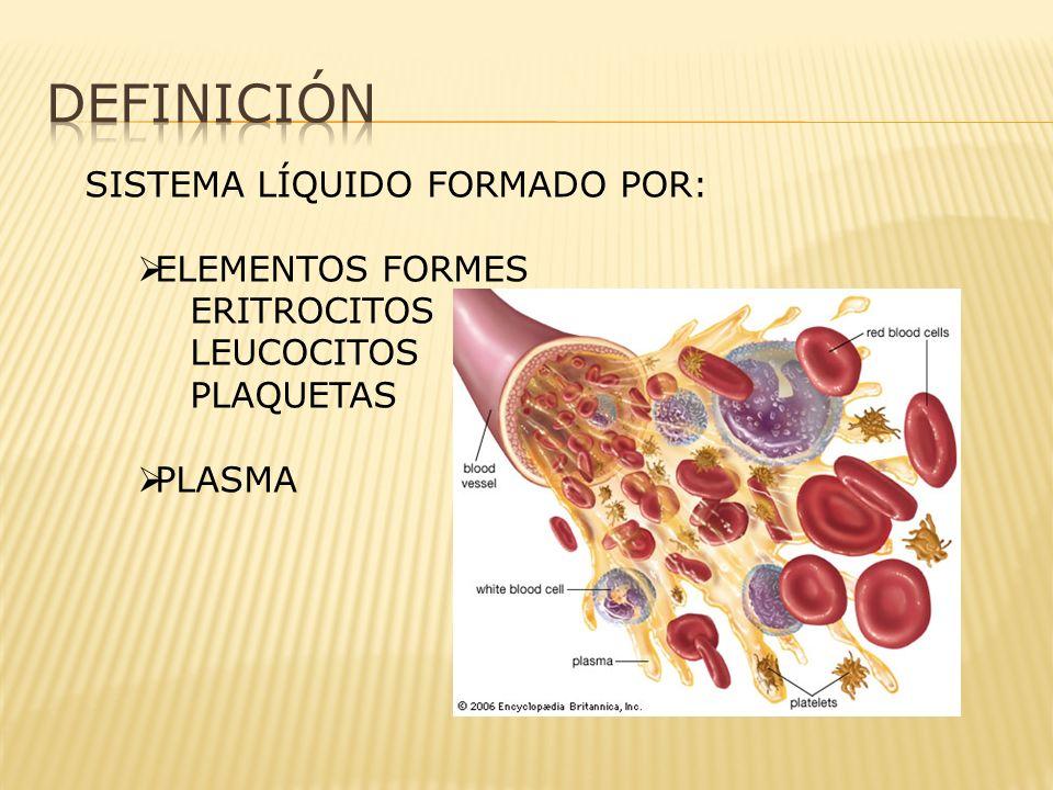 SISTEMA LÍQUIDO FORMADO POR: ELEMENTOS FORMES ERITROCITOS LEUCOCITOS PLAQUETAS PLASMA