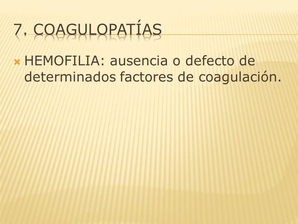 HEMOFILIA: ausencia o defecto de determinados factores de coagulación.