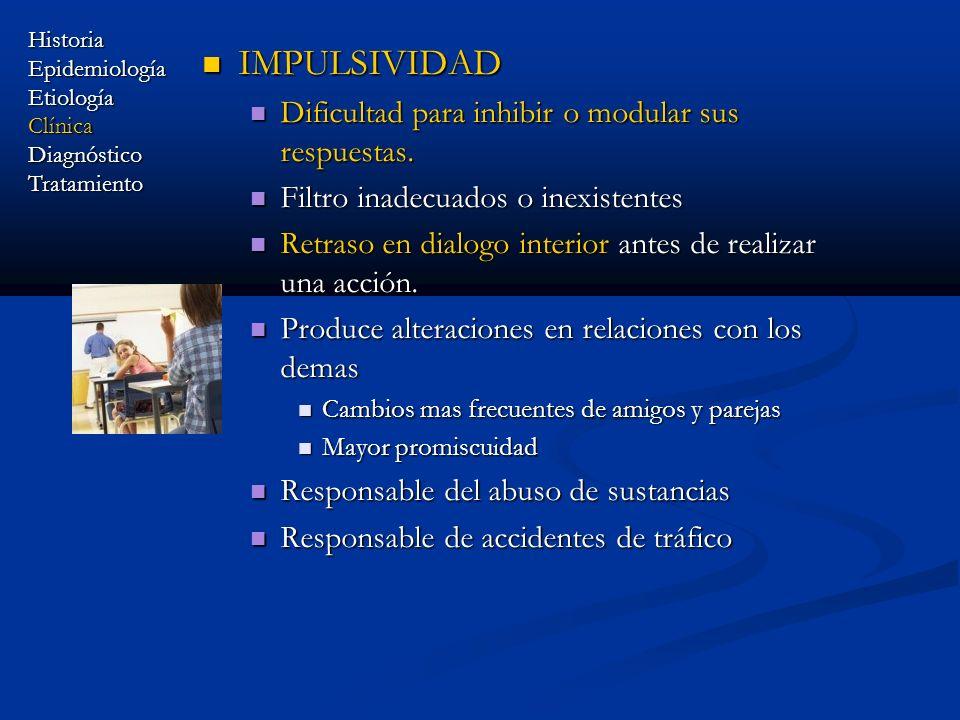 IMPULSIVIDAD IMPULSIVIDAD Dificultad para inhibir o modular sus respuestas. Dificultad para inhibir o modular sus respuestas. Filtro inadecuados o ine