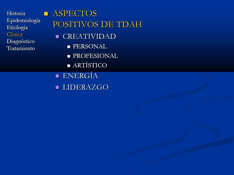 ASPECTOS POSITIVOS DE TDAH ASPECTOS POSITIVOS DE TDAH CREATIVIDAD CREATIVIDAD PERSONAL PERSONAL PROFESIONAL PROFESIONAL ARTÍSTICO ARTÍSTICO ENERGÍA EN
