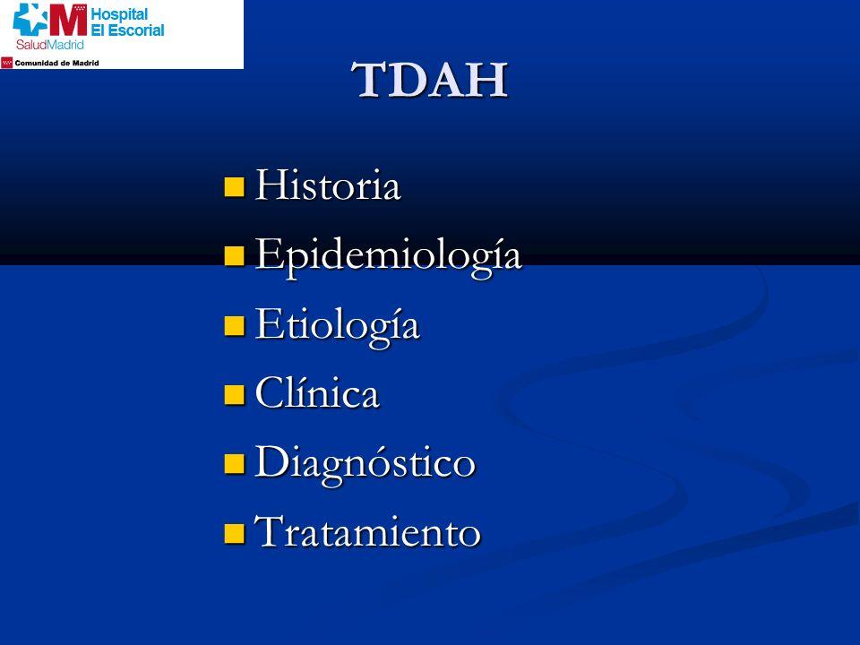 TDAH Historia Historia Epidemiología Epidemiología Etiología Etiología Clínica Clínica Diagnóstico Diagnóstico Tratamiento Tratamiento