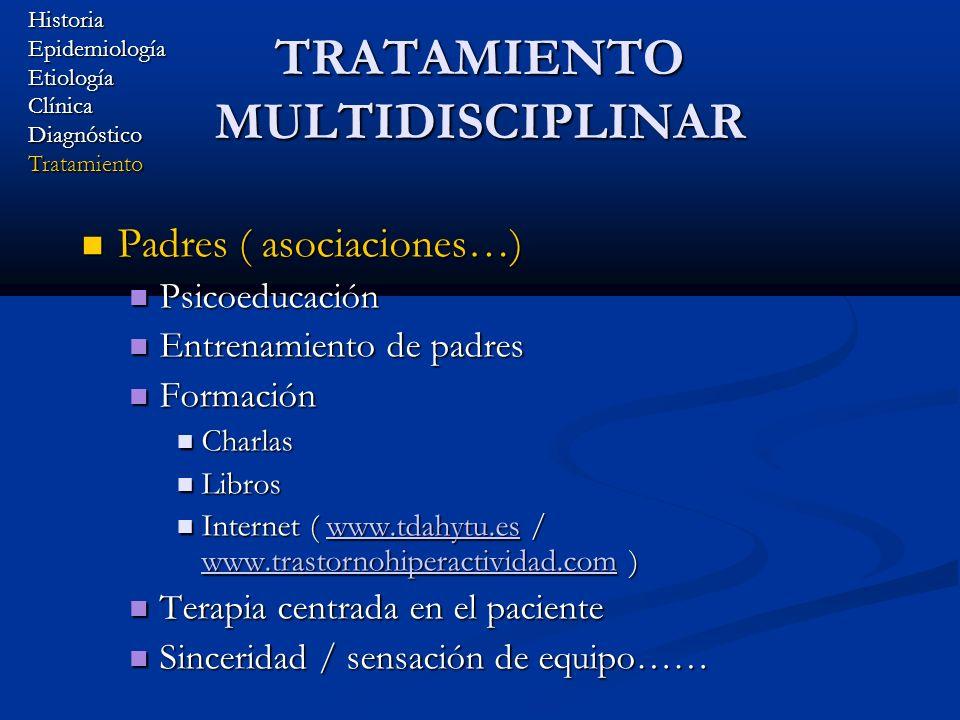 TRATAMIENTO MULTIDISCIPLINAR Padres ( asociaciones…) Padres ( asociaciones…) Psicoeducación Psicoeducación Entrenamiento de padres Entrenamiento de pa
