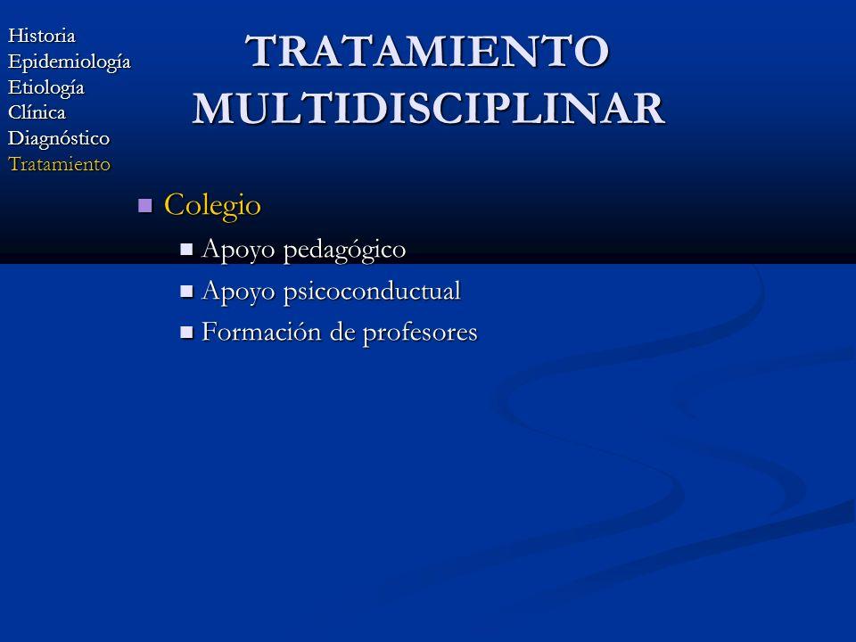 TRATAMIENTO MULTIDISCIPLINAR Colegio Colegio Apoyo pedagógico Apoyo pedagógico Apoyo psicoconductual Apoyo psicoconductual Formación de profesores For